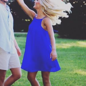Blue Dress with Smock Detailing